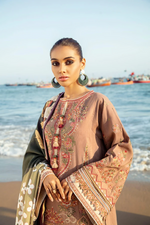 Load image into Gallery viewer, Vintage Taupe BAROQUE Khaddar Unstitched Suit