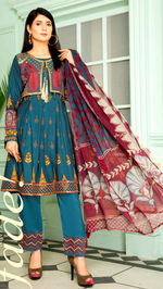 Load image into Gallery viewer, Blue Linen Maryam & Mariya's Ladies Suit