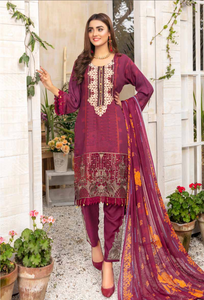 Maroon Airjet Fabric by Munira Ladies Suit