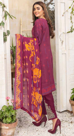 Load image into Gallery viewer, Maroon Airjet Fabric by Munira Ladies Suit