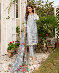 Grey Airjet Fabric by Munira Ladies Suit
