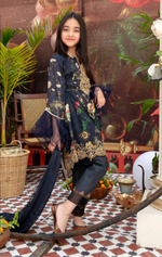 Load image into Gallery viewer, Navy Guddiyah Lawn Girls Suit