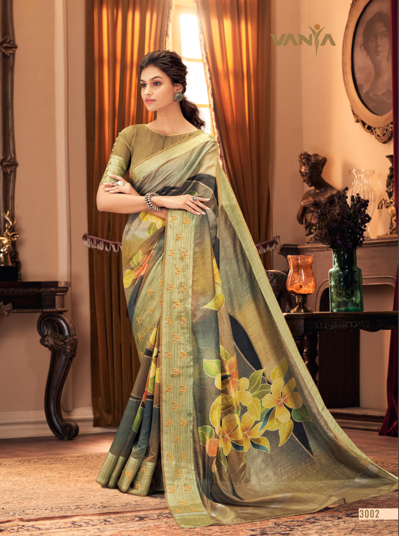 Olive Vanya Silk Ladies Saree