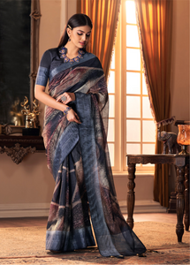 Navy Blue Vanya Silk Ladies Saree