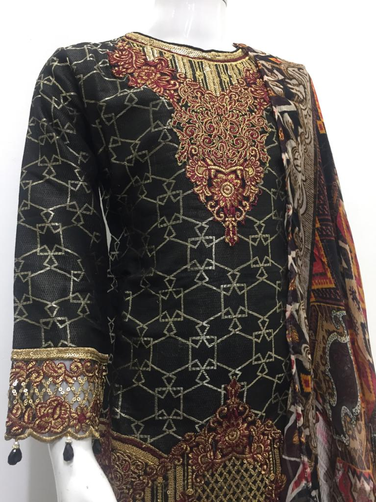 Black Jacquard Embroidered Girls Suit by Muskari