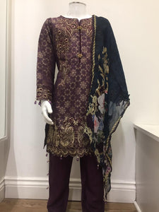 Plum Jacquard Embroidered Girls Suit by Muskari