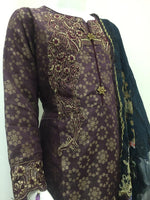 Load image into Gallery viewer, Plum Jacquard Embroidered Girls Suit by Muskari