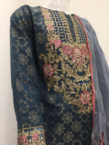 Blue Jacquard Embroidered Girls Suit by Muskari