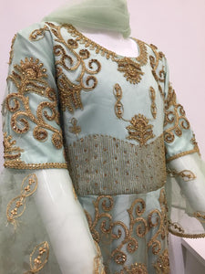 Mint Green Girls Resham Work Frock