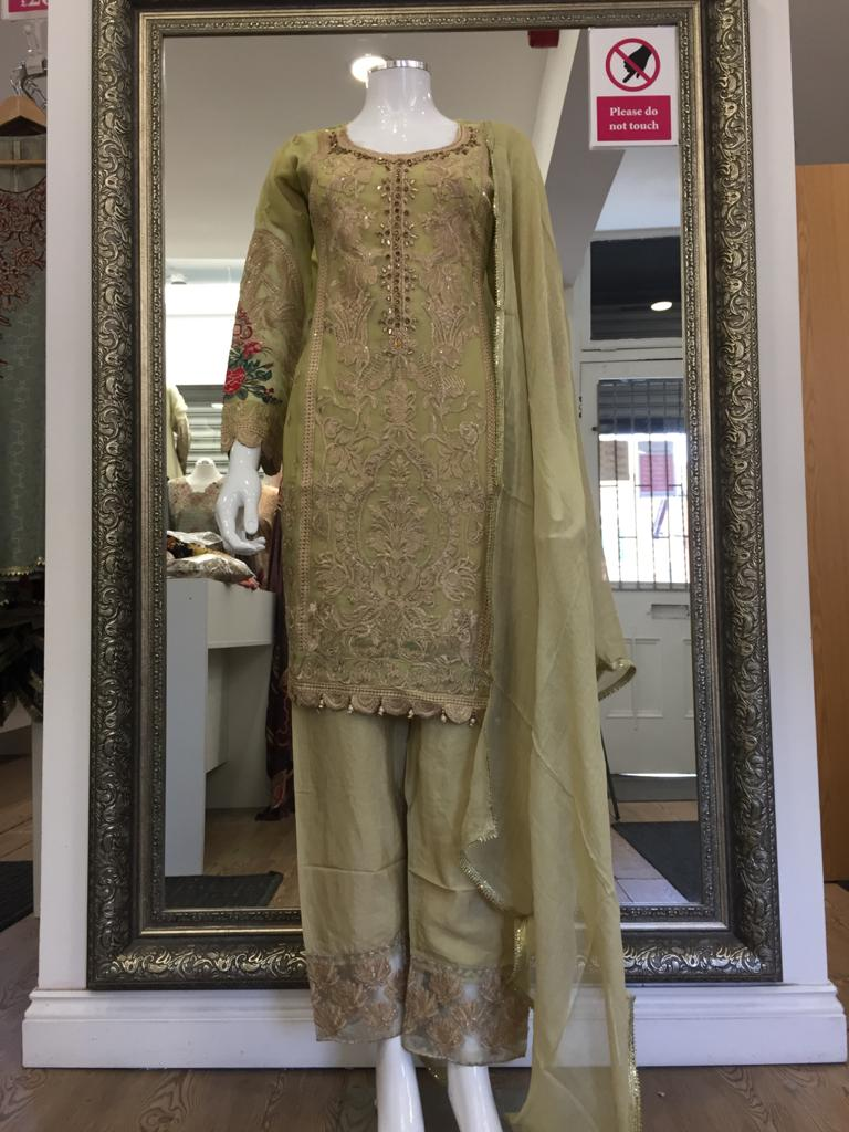 Gold Chiffon Ladies Suit