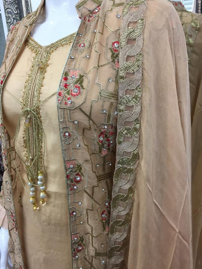 Beige Rafia Style Ladies Long Jacket Suit