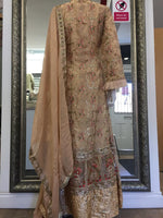 Load image into Gallery viewer, Beige Rafia Style Ladies Long Jacket Suit