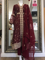 Load image into Gallery viewer, Maroon and Gold Ladies Tail Frock