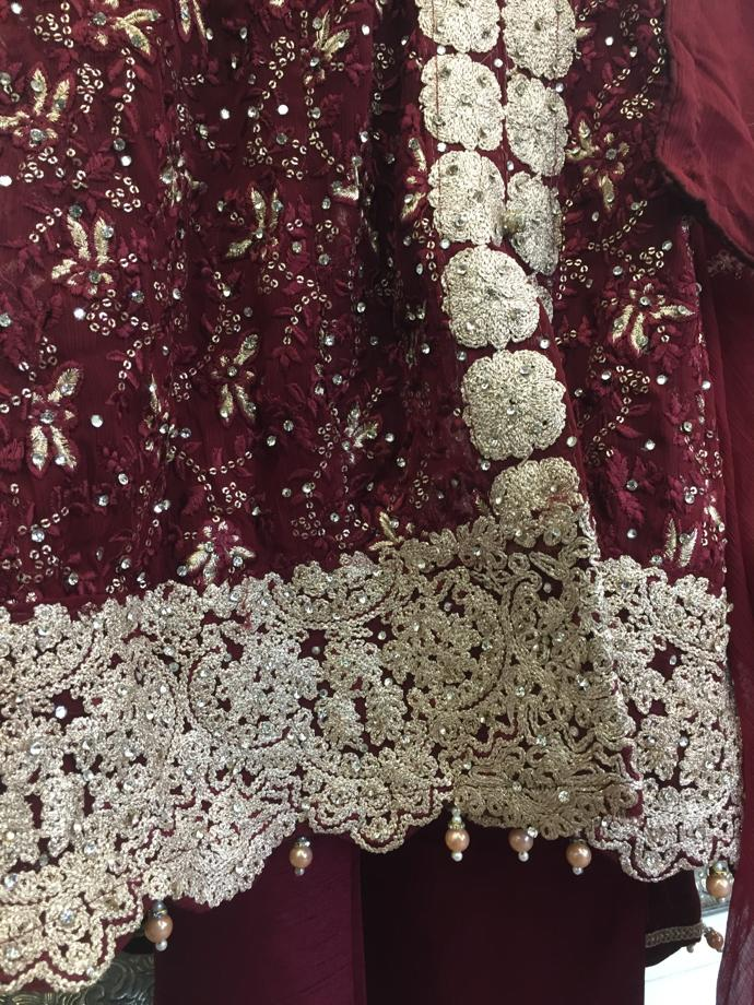 Maroon and Gold Ladies Tail Frock