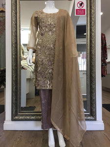 Gold and Lilac Ladies Suit
