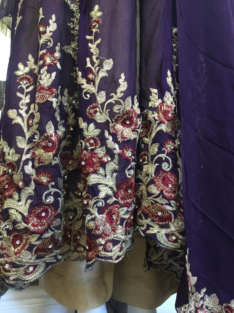 Purple and Gold Rafia Style Ladies Jacket Suit