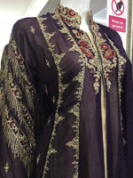 Load image into Gallery viewer, Purple and Gold Rafia Style Ladies Jacket Suit