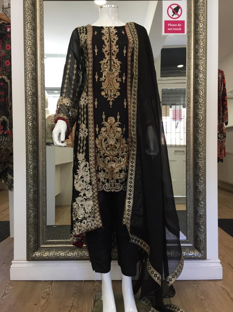 Black and Gold Resham Work Ladies Fixed Jacket Suit