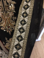 Load image into Gallery viewer, Black and Gold Resham Work Ladies Fixed Jacket Suit