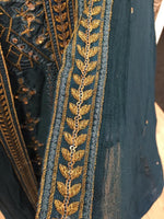 Load image into Gallery viewer, Teal and Gold Fixed Jacket Ladies Long Frock