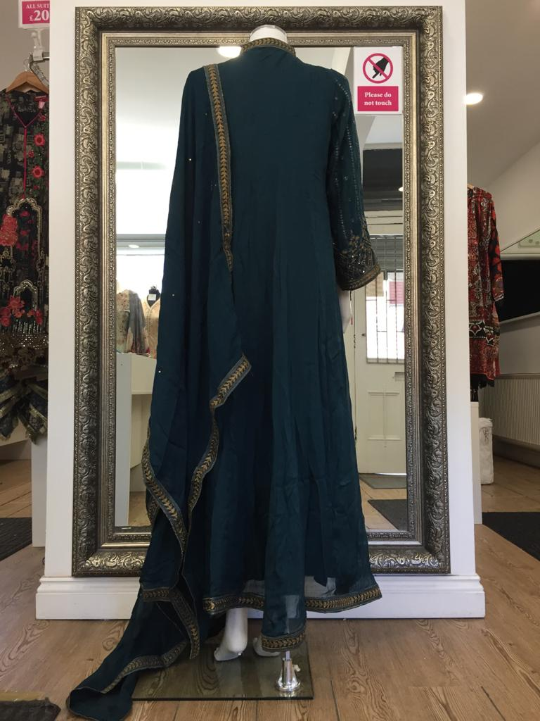 Teal and Gold Fixed Jacket Ladies Long Frock