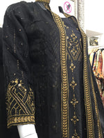 Load image into Gallery viewer, Black and Gold Fixed Jacket Ladies Long Frock