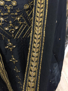 Black and Gold Fixed Jacket Ladies Long Frock