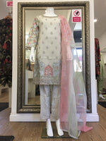 Load image into Gallery viewer, Off White Pastel Chiffon Organza Dupatta Summer Ladies Suit