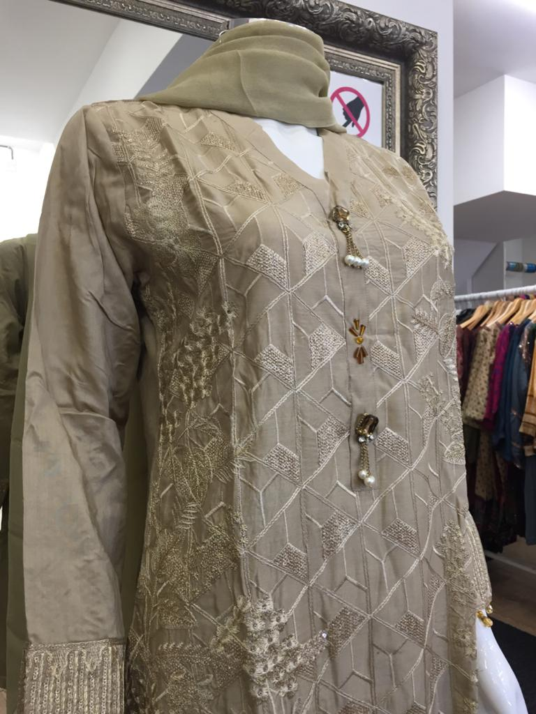 Gold Agha Noor Style Silk Ladies Suit
