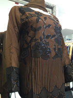 Load image into Gallery viewer, Brown and Black Sequins Viscose Ladies Suit