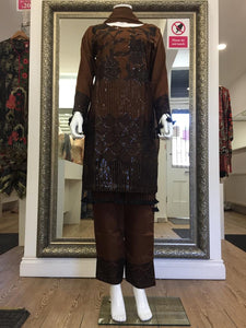 Brown and Black Sequins Viscose Ladies Suit
