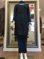 Load image into Gallery viewer, Blue and Black Sequins Viscose Ladies Suit