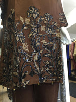 Load image into Gallery viewer, Brown and Black Sequins Summer Linen Ladies Suit