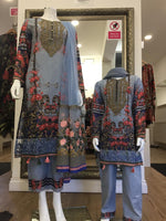Load image into Gallery viewer, Blue Floral Flossie Summer Mother and Daughter Ladies Lawn Suit