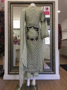 Green Rafia Style Resham Ladies Long Tail Frock