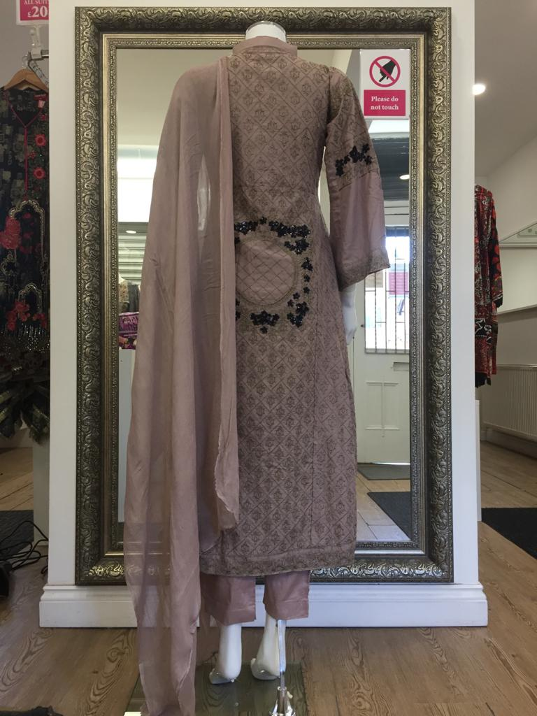 Dusty Pink Rafia Style Resham Ladies Long Tail Frock