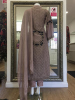 Load image into Gallery viewer, Dusty Pink Rafia Style Resham Ladies Long Tail Frock