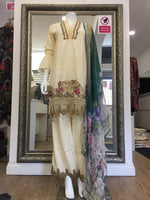 Load image into Gallery viewer, Cream Summer Embroidered Pure Cotton Ladies Suit