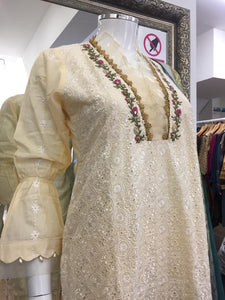 Cream Summer Embroidered Pure Cotton Ladies Suit