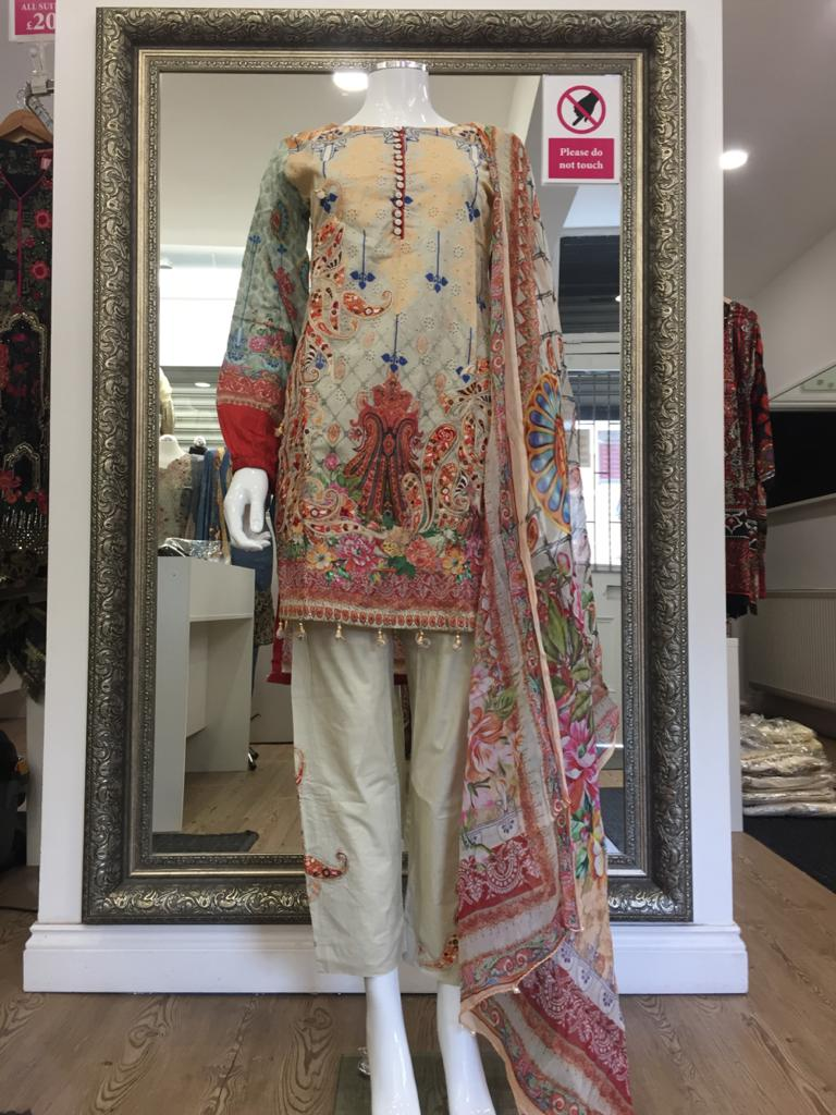 Beige Summer Embroidered Pure Cotton Ladies Suit