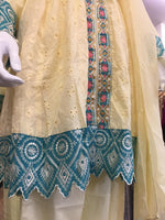 Load image into Gallery viewer, Yellow Belt Summer Embroidered Pure Cotton Ladies Frock