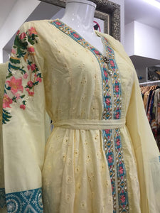 Yellow Belt Summer Embroidered Pure Cotton Ladies Frock