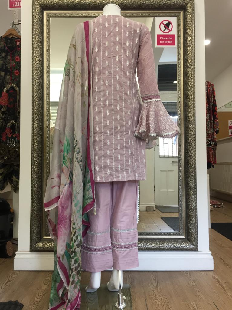 Lilac Summer Embroidered Pure Cotton Ladies Suit