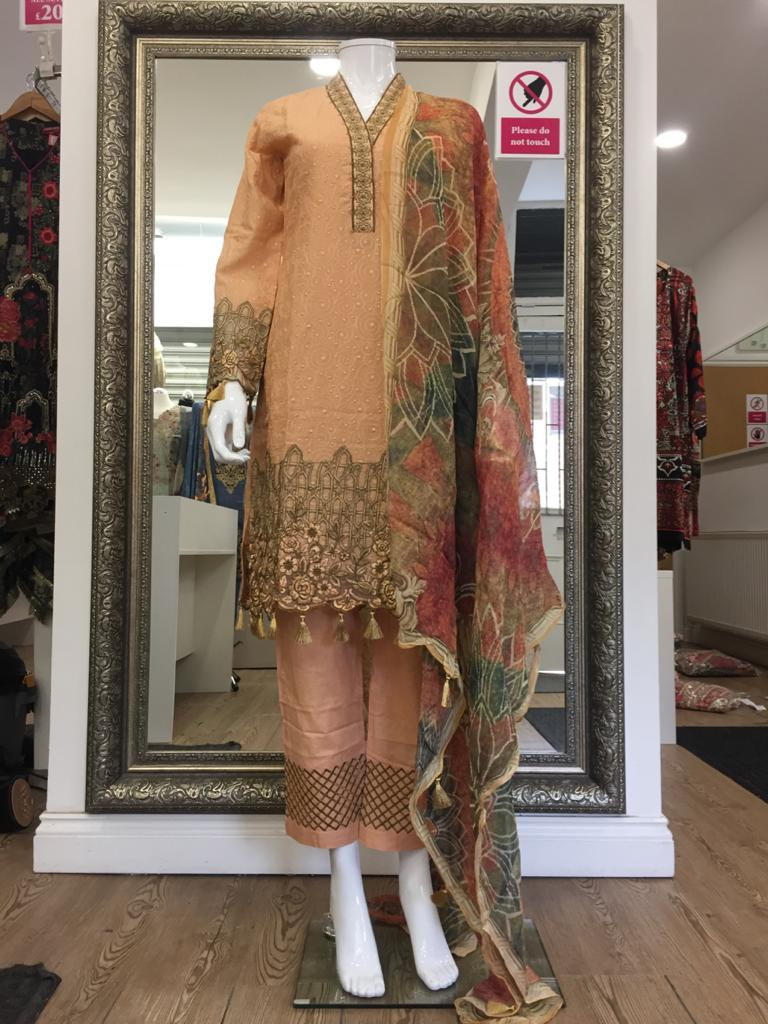 Peach Summer Embroidered Pure Cotton Ladies Suit