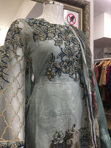 Teal Chikankari Mother Daughter Ladies Frock