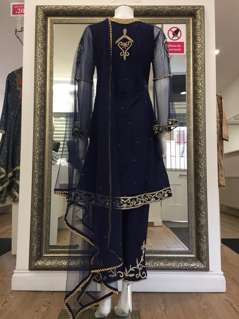 Navy Blue Heavy Stonework Ladies Suit
