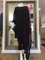 Load image into Gallery viewer, Black Sequin Maroon Dupatta Chiffon Ladies Suit
