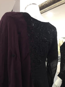 Black Sequin Maroon Dupatta Chiffon Ladies Suit