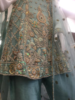 Load image into Gallery viewer, Teal Heavy Stonework Ladies Peplum Frock
