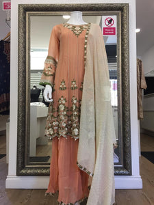 Peach Sharara Ladies Peplum Frock